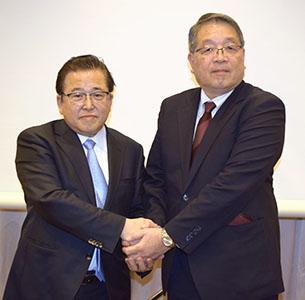 MV中部・鈴木芳知社長(左)とMV東海・神尾啓治社長