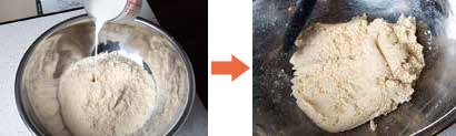 (左)焼麩をフードプロセッサーにかけ、牛乳を加える、(右)ペースト状になるまで混ぜる