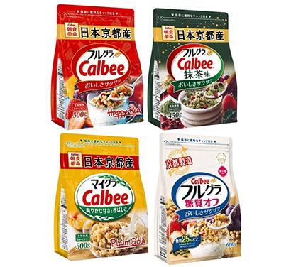 中国の小売店舗で販売中の商品※「フルグラ 糖質オフ」は19年9月ごろ発売予定