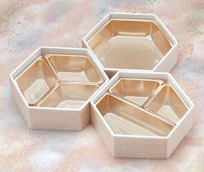 北原産業、六角・三角の小鉢トレー発売 少人数用おせちに最適