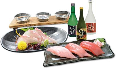 「酒と肴セット」は刺し身とにぎり寿司、日本酒飲み比べが付いて1080円