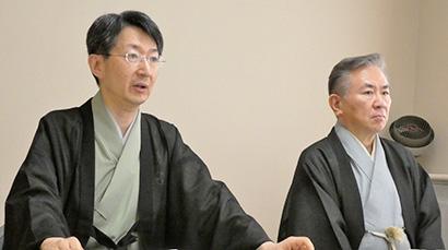 田中仙堂大日本茶道学会会長(左)と小堀宗実和文化・産業連携振興協議会会長