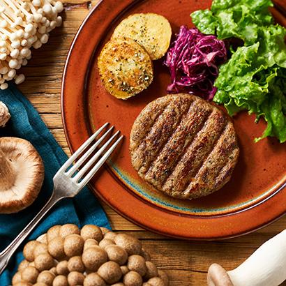 オイシックス・ラ・大地、きのこ使用の代替肉ハンバーグパティを日本で