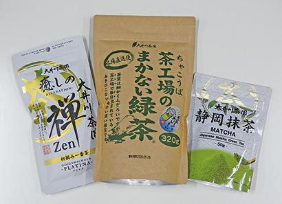左から「大井川茶園 癒しの禅」シリーズ・「茶工場のまかない」シリーズ・「大井川茶園 静岡抹茶」