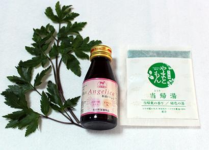 (左から)大和当帰葉、「Angelica和漢ドリンク」、大和当帰葉の入浴剤