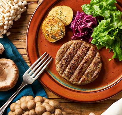 オイシックス・ラ・大地、代替肉ハンバーグパティに国産キノコなど使用