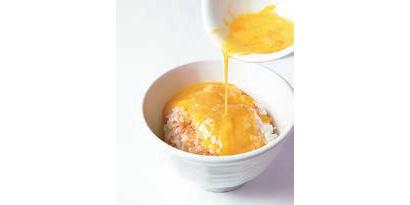 海老味玉子かけご飯 200円(税込み)エビエキスたっぷりのタレで味付け