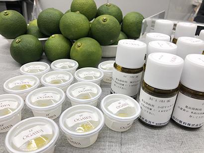 小川香料の展示会では和柑橘フレーバーを利用したグミやゼリー、ぽん酢などが紹介された
