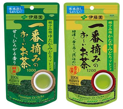 """進む""""高級化""""へ対応する「一番摘みのお~いお茶1000」(左)と「同1200」"""