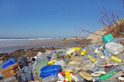 プラスチックゴミが漂着したタイ湾の浜辺=天然資源環境省提供