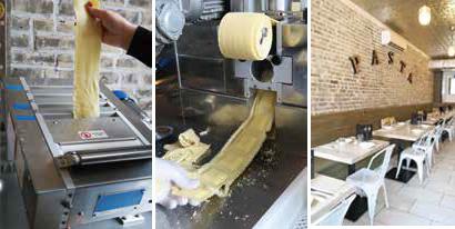 (左2つ)イタリア製の製麺機を使えば、簡単に生パスタができる。ラビオリも具を入れてこの通り、(右)クリーンで明るい店内