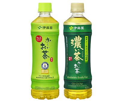 「お~いお茶 緑茶」(認定記念パッケージ)(左)と「濃い茶」