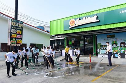 タイ最大財閥CPグループ傘下の食品会社CPフーズでは店舗の衛生管理や清掃を徹底している=提供写真