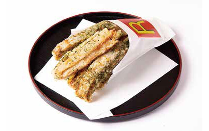 「フライドれんこん磯辺風味」700円(税抜き) 特注の紙容器で遊び心をアピール