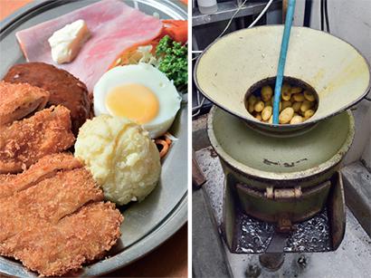 (左)=「特製ポテトサラダ」地味だが不可欠な存在。写真は、看板料理の「特ランチの定食」(ご飯、味噌汁、小鉢、漬物付き。990円・税込み)、(右)=年代物のジャガイモ皮むき機を愛用