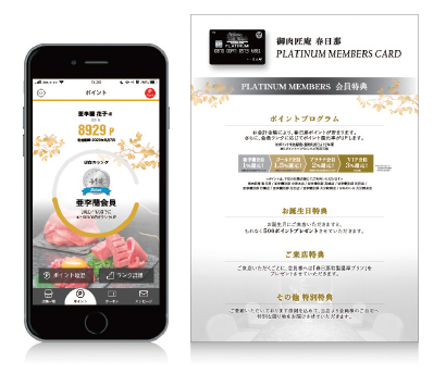 「会員カード」が「アプリ」に (左)オリジナルアプリ、(右)アプリご案内POP