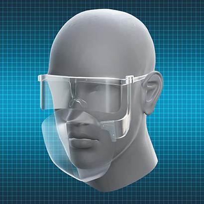 開発中のフェースシールドは装着しやすい眼鏡型。飲食時は下部をワンタッチで開閉できる