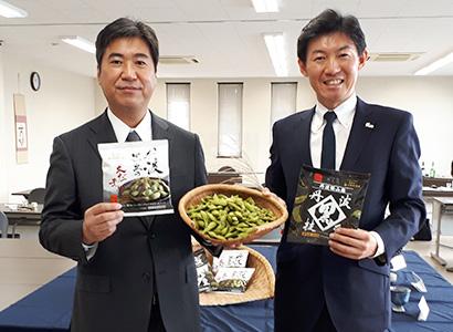 ケンミン食品と小田垣商店、枝豆試食発表会を開催 丹波黒の魅力発信