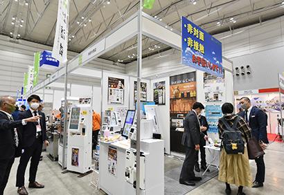TV局に注目された新型コロナ対策を訴求した田村商店ブース