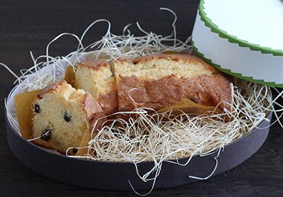 自社ホームページで紹介する「ぽん酢レーズンのパウンドケーキ」