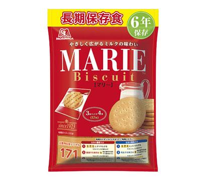 森永製菓、袋形態で6年間保存 防災専用品「長期保存食マリー」