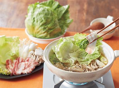フレッシュレタスを丸ごといただく 白だしスープの豚しゃぶ鍋