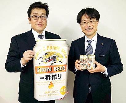 金丸俊憲北海道統括本部長(左)と森木博之北海道千歳工場長