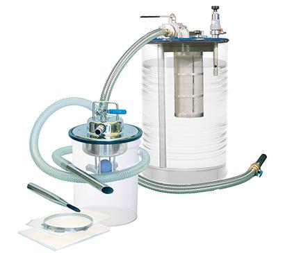 アクアシステム、エアー式タンク清掃ろ過クリーナー提案 改良で吸入量50%向上