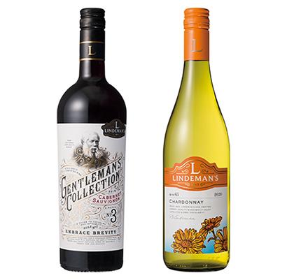 「リンデマンズ ビン65 シャルドネ 白」(右)と「リンデマンズ ジェントルマンズ・コレクション カベルネ・ソーヴィニヨン 赤」