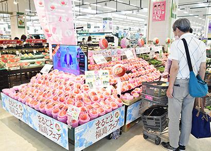 おいしい福島の桃が並ぶイオンりんくう泉南店