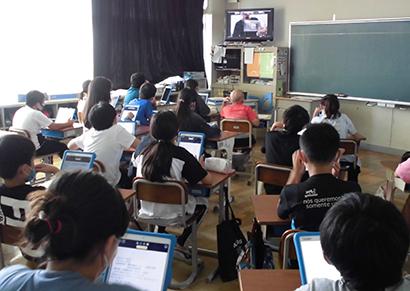 日本水産協賛「海とさかな」、小学校3校でオンライン出張授業