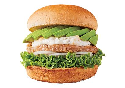 「フレッシュネスバーガー」が販売している大豆パティ使用の「SOYアボバーガー」