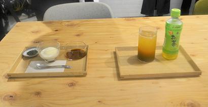「お~いお茶」のアフォガード(左)と「お~いお茶」りんごスパイス仕立て